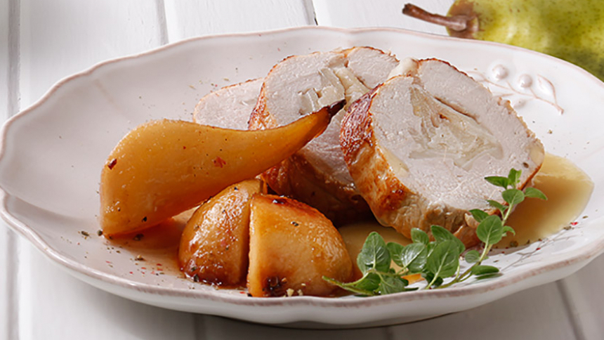 Lomo de cerdo relleno con queso de cabra y peras