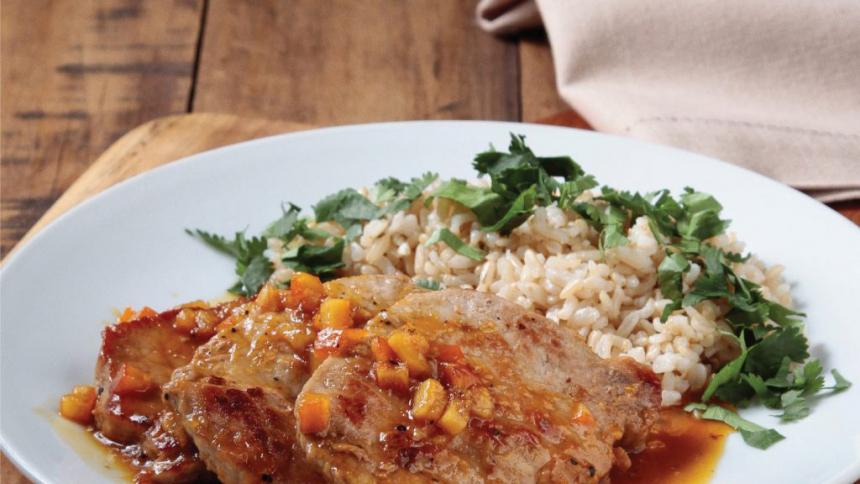 Solomillo cerdo a la naranja con arroz integral