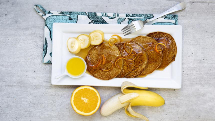 Pancakes de avena-plátano
