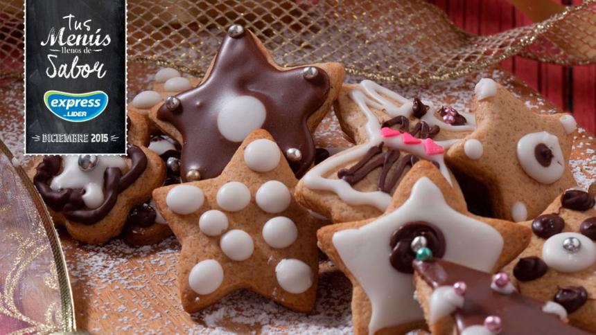 Galletas de navidad cubiertas de azúcar flor y chocolate