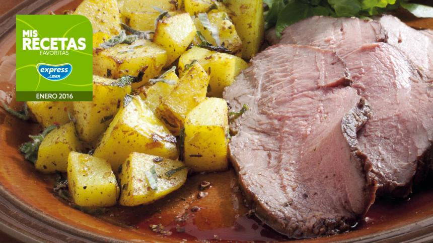 Roast beef a la mostaza con papas salteadas a la menta y romero