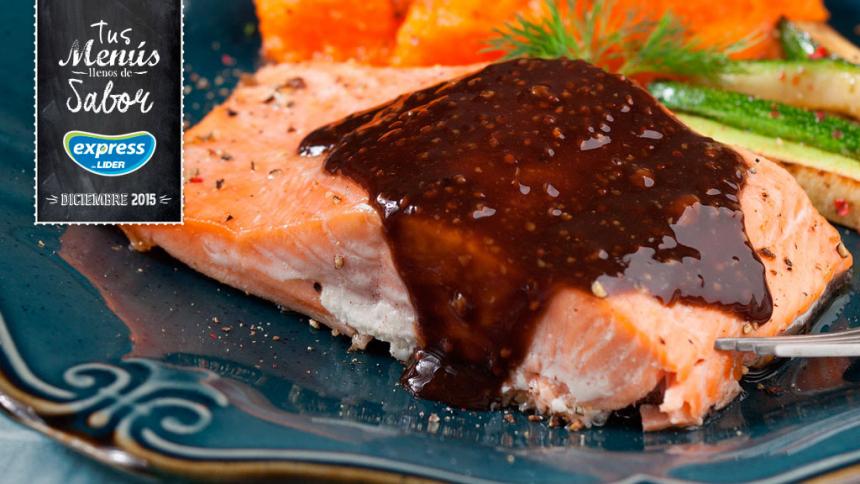 Salmón al horno con vinagre balsámico y puré de zanahorias