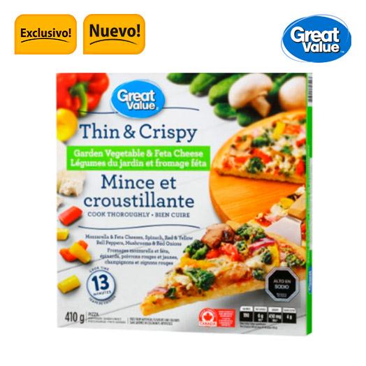 Pizza masa delgada vegetales 410 gr