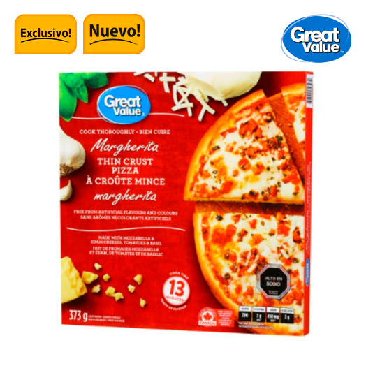 Pizza masa delgada margarita 373 gr